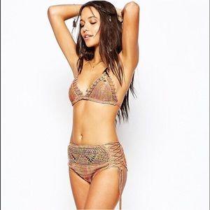 NWT Anna sui O'Neill crochet bikini high waist